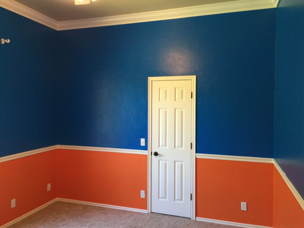 Bedroom Done up in Oklahoma City Thunder Colors