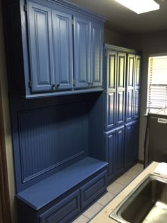 Blue Cabinets in a Laundry Room